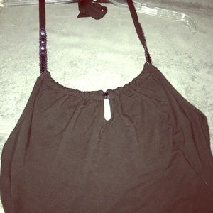 The Limited Tops - Black cotton halter top